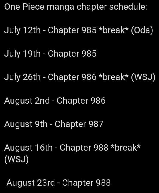 One Piece Chapter Schedule
