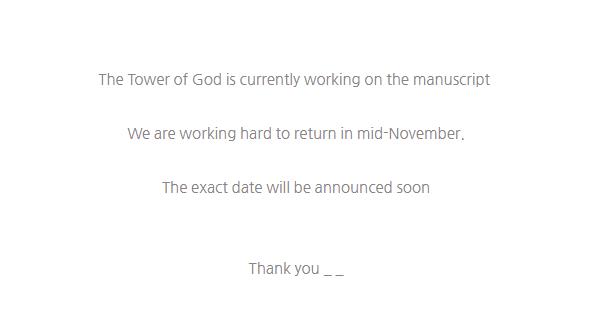 Tower of God Hiatus end