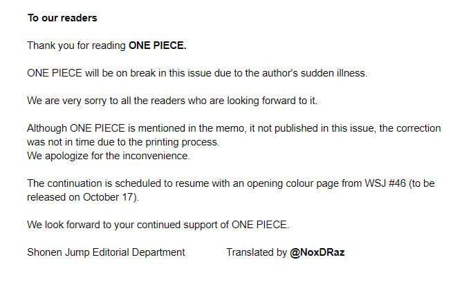 One Piece 992 Delayed